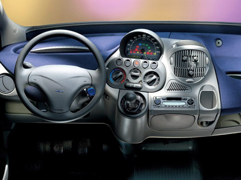 Fiat's Multipla interior, with the speedometer in the center, along with just about every other control.