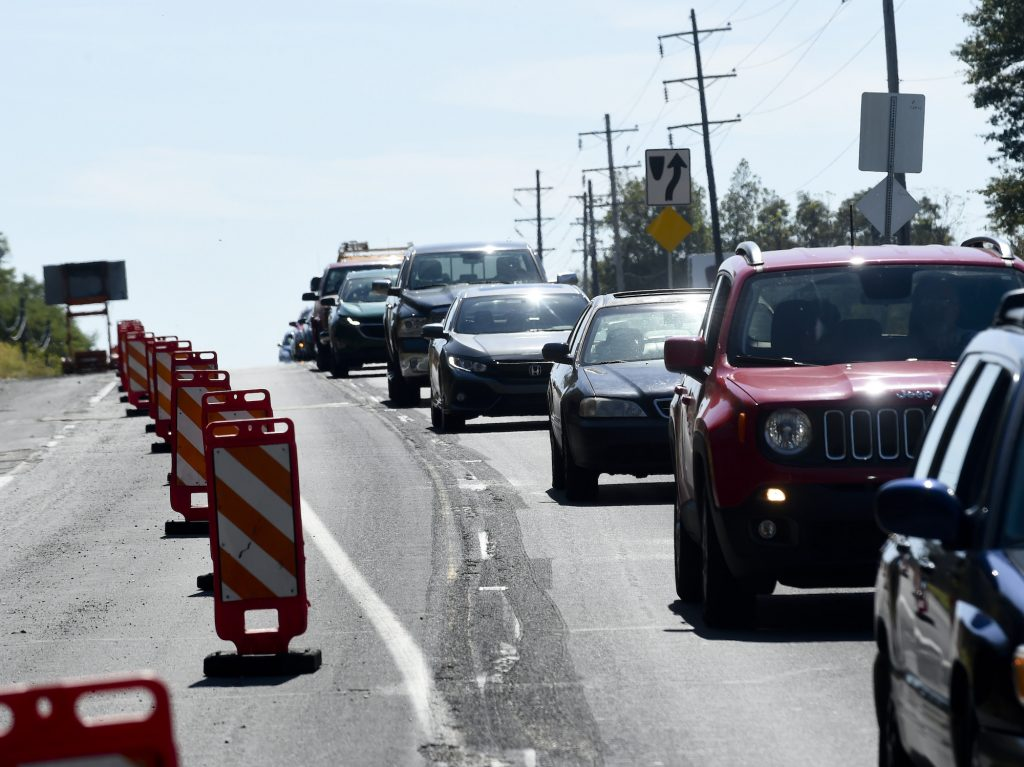 Drivers eschew the zipper merge driving technique at road construction on Route 61 in Pennsylvania