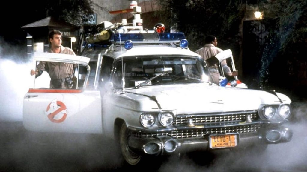 The original Ecto-1 in the first Ghostbusters film