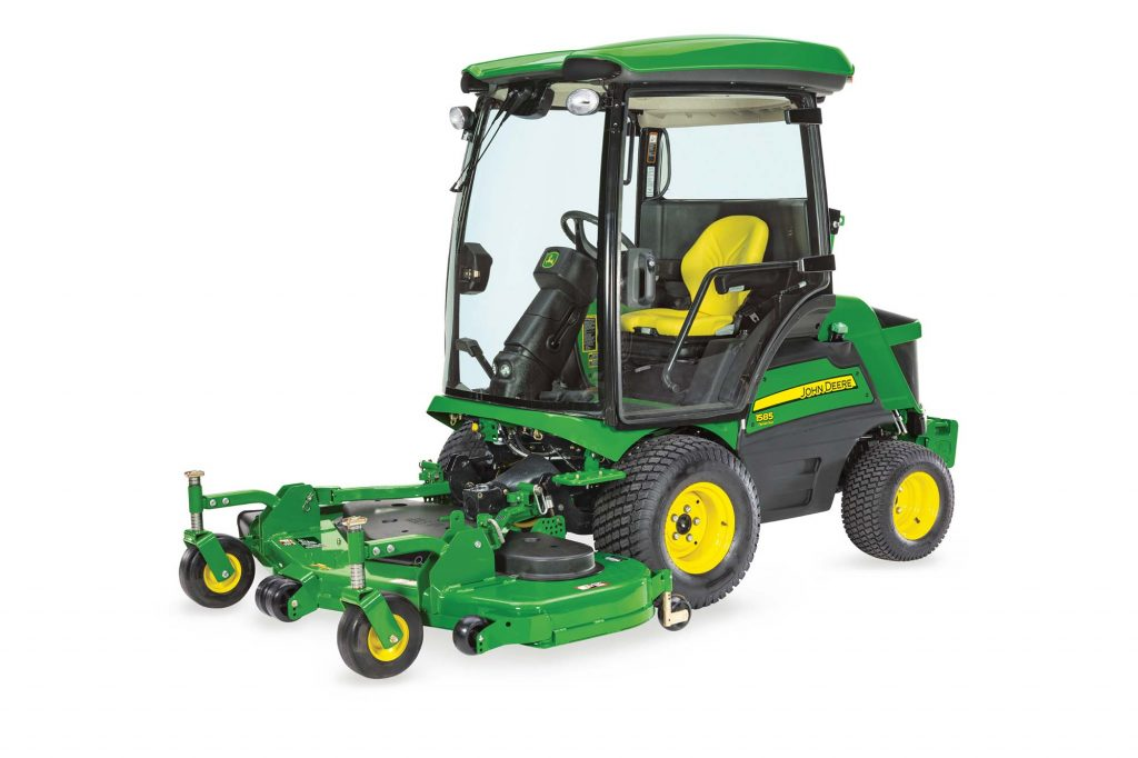 A John Deere air conditioned lawn mower