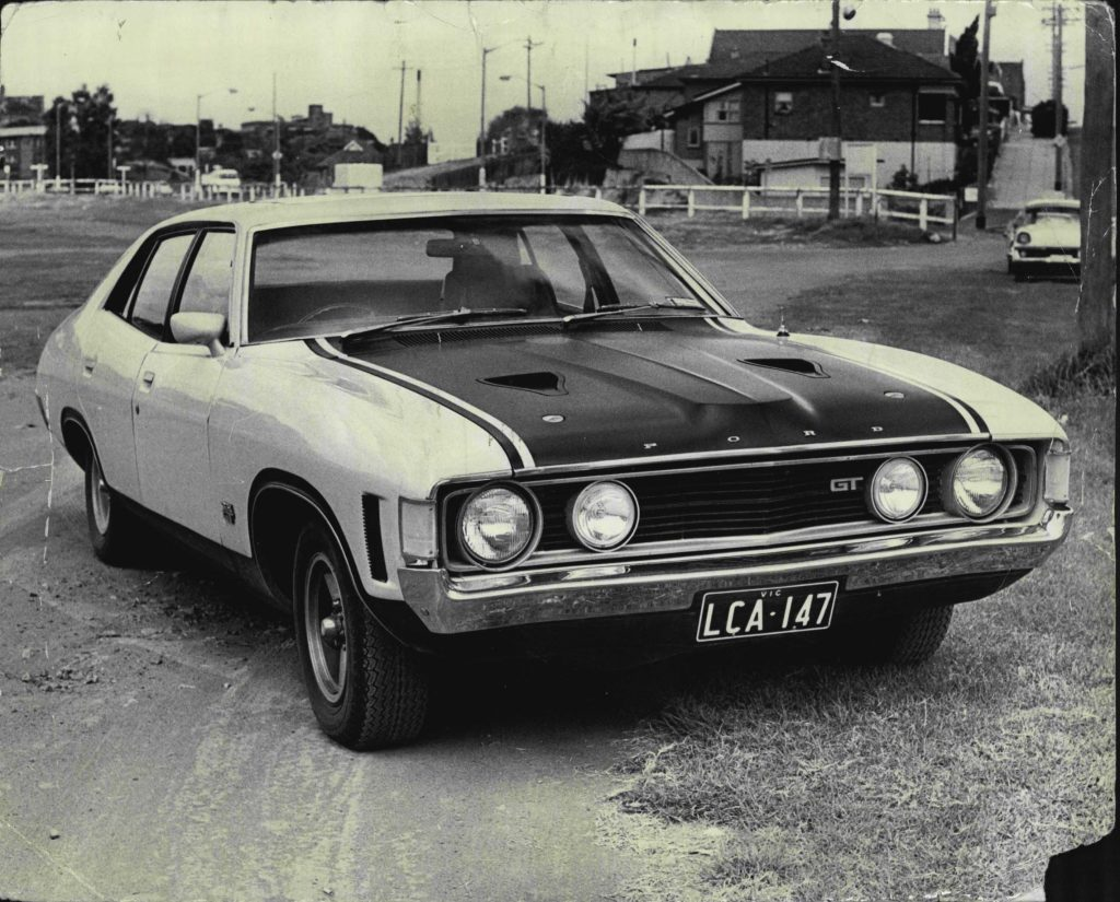 A black-and-white photo of a 1972 Ford Falcon GT 351