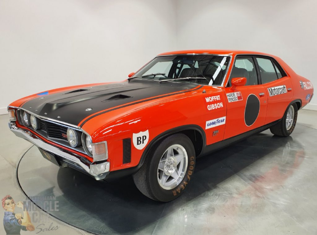 The liveried red-and-black 1972 Ford Falcon XA GTHO Phase IV prototype