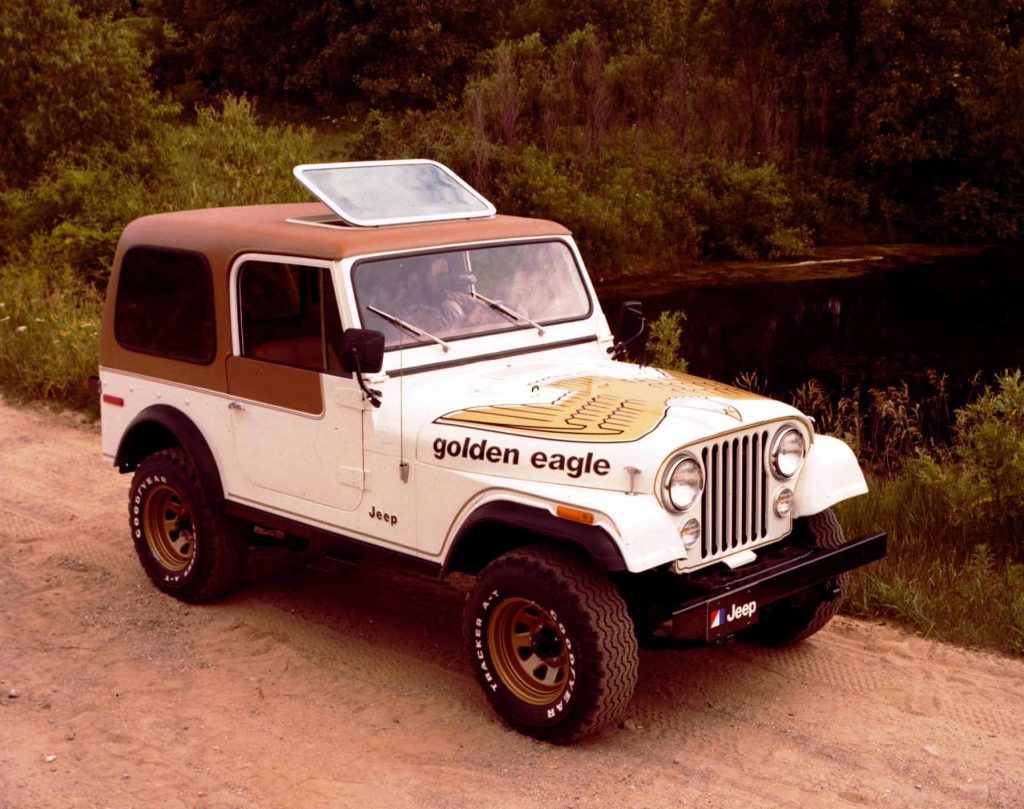 A 1979 Jeep CJ-7 Golden Eagle parked on a dirk road