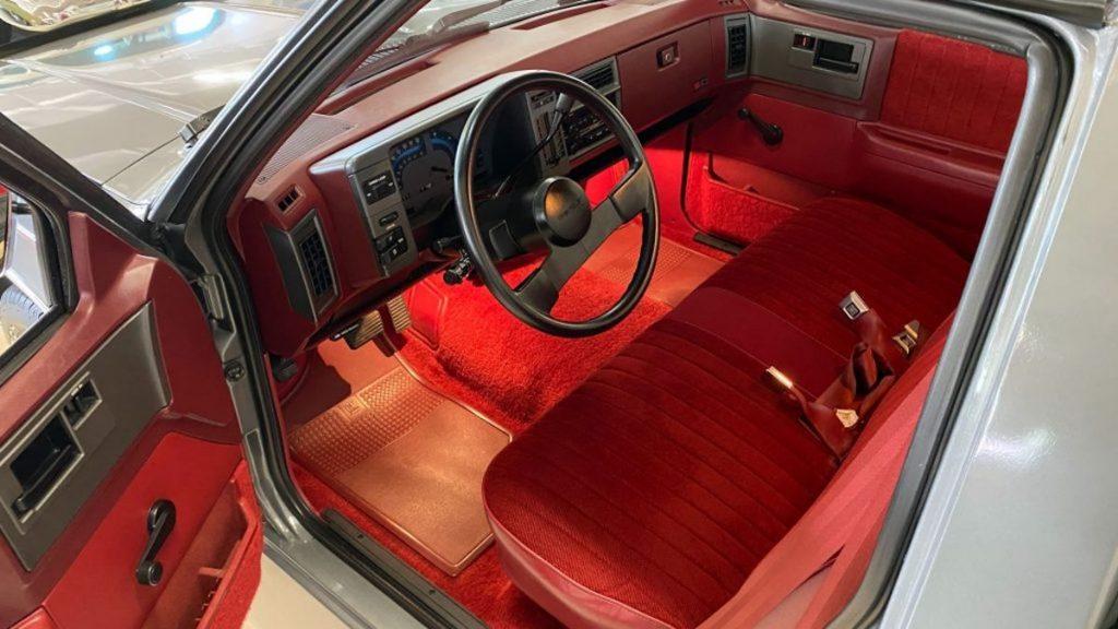 S-10 interior in bright red