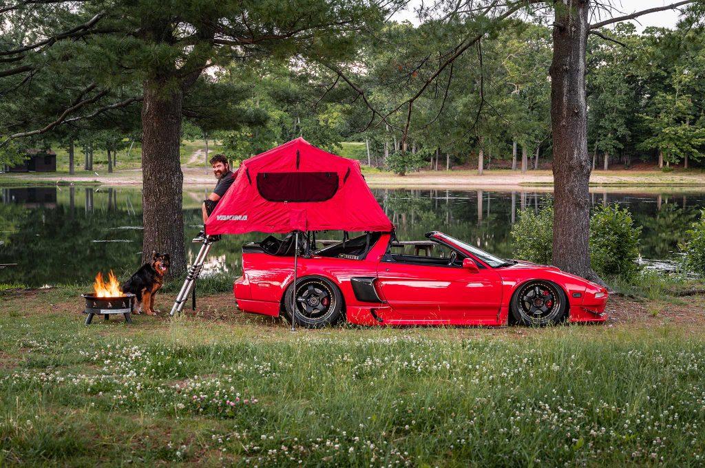 Chris Cut's red NSX targa camping rig