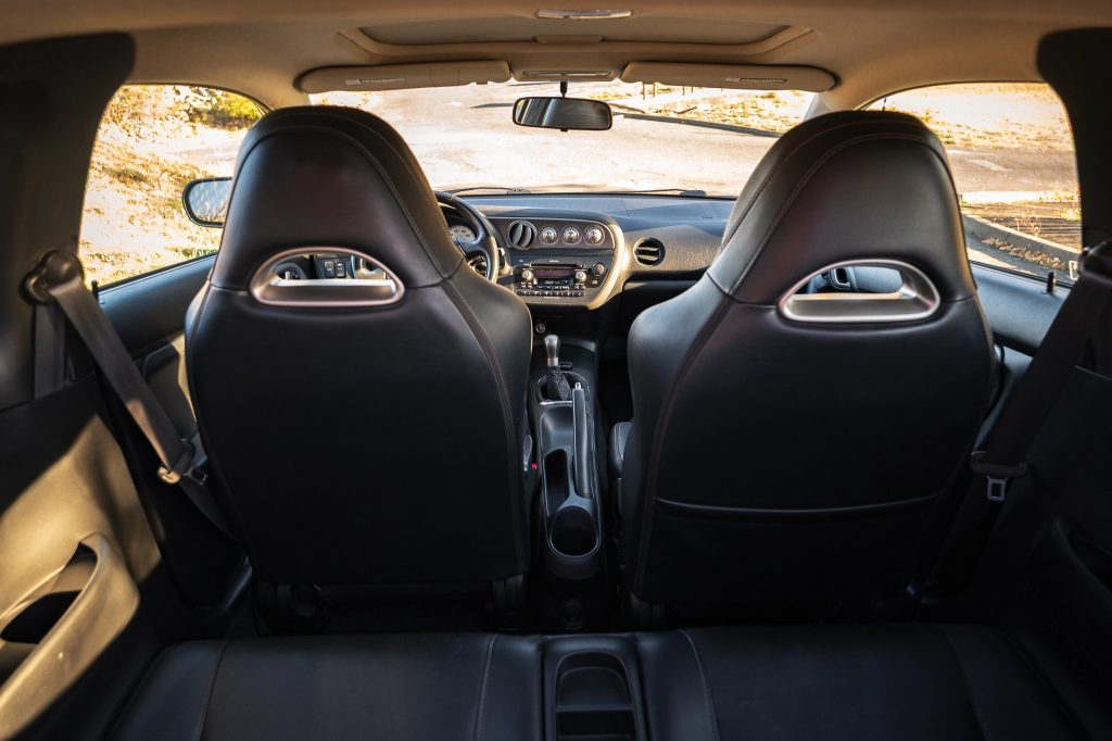 The leather-upholstered interior of a 2006 Acura RSX Type S