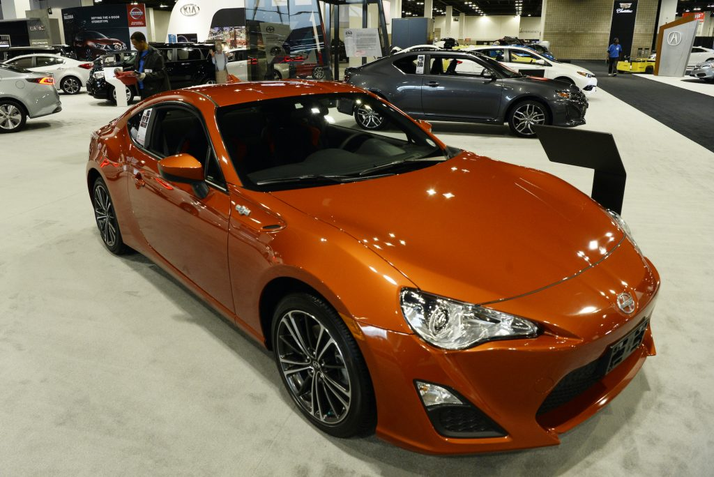 A Scion FR-S is on display at the Denver Auto Show at the Colorado Convention Center.