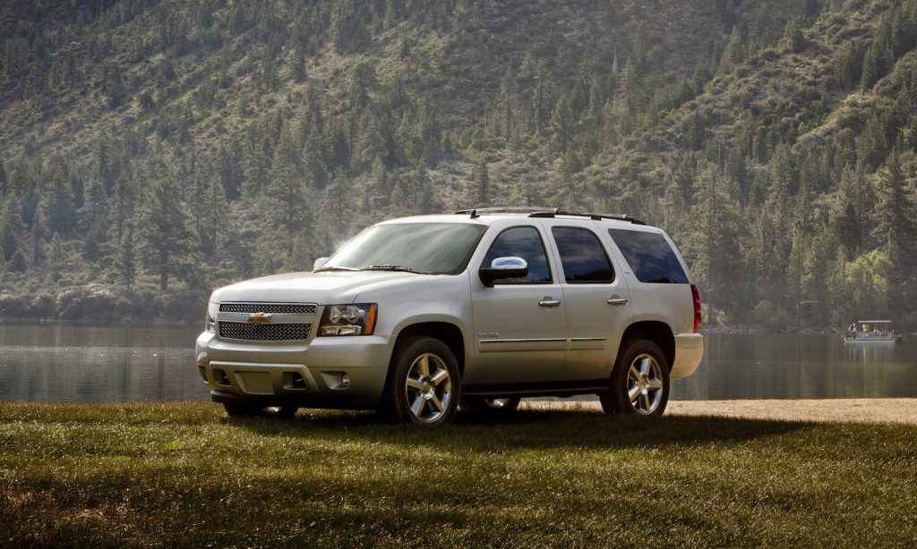The 2014 Chevrolet Tahoe LTZ parked in the woods