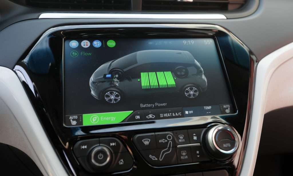 The battery information screen in a 2017 Chevy Bolt EV