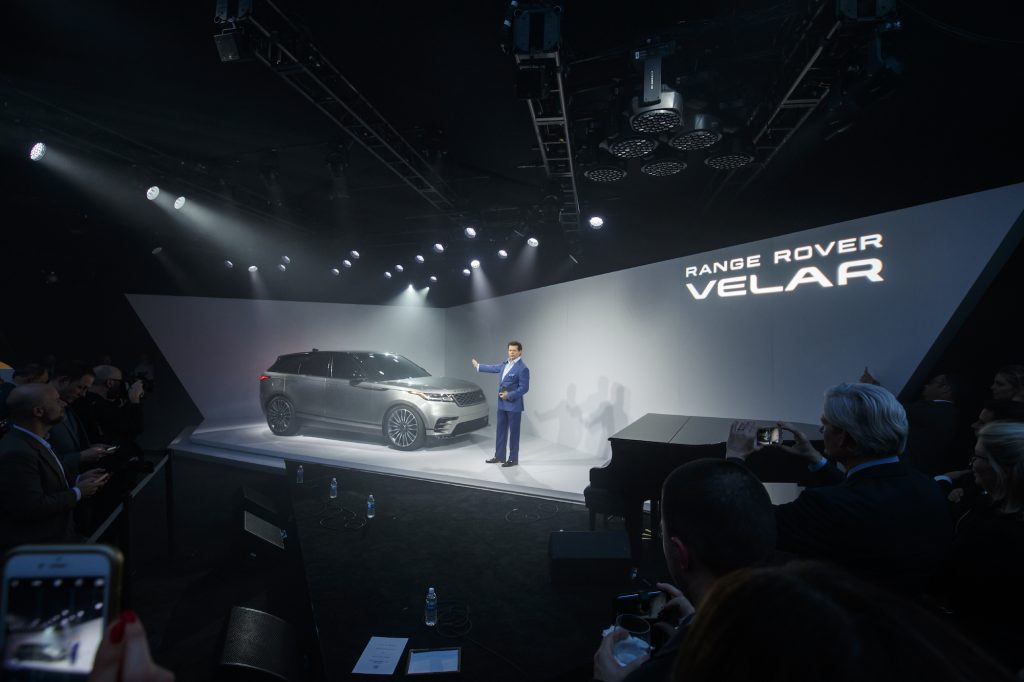 The all-new Land Rover Range Rover Velar onstage at its U.S. debut on April 11, 2017