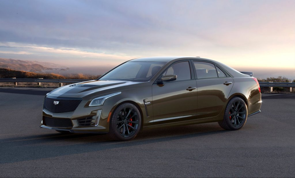 A brown 2019 Cadillac CTS-V Pedestal Edition on a mountainside road