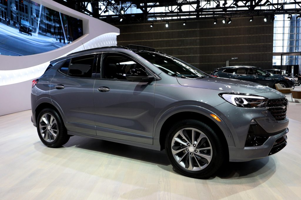 A bluish gray metallic 2020 Buick Encore GX on display at the Chicago Auto Show in February 2020