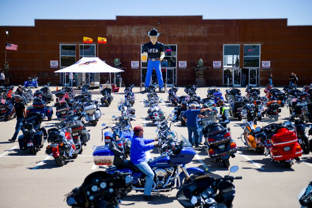 2020 Sturgis Motorcycle Rally attendees at the Full Throttle Saloon