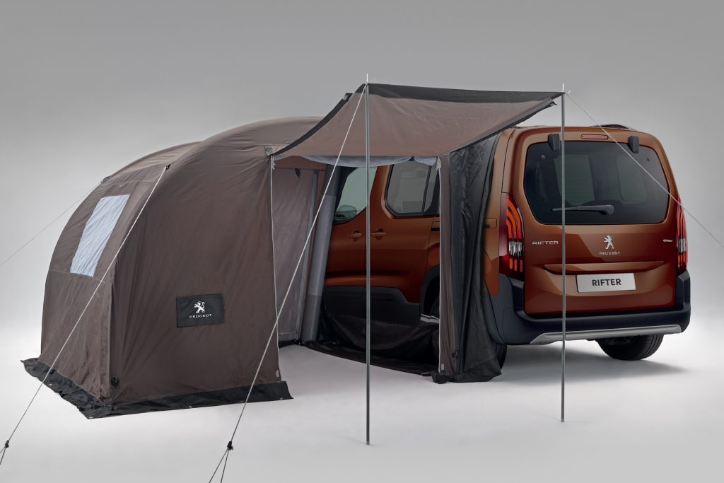The Rifter's tent lets you live the van life, seen here attached to the side of the van
