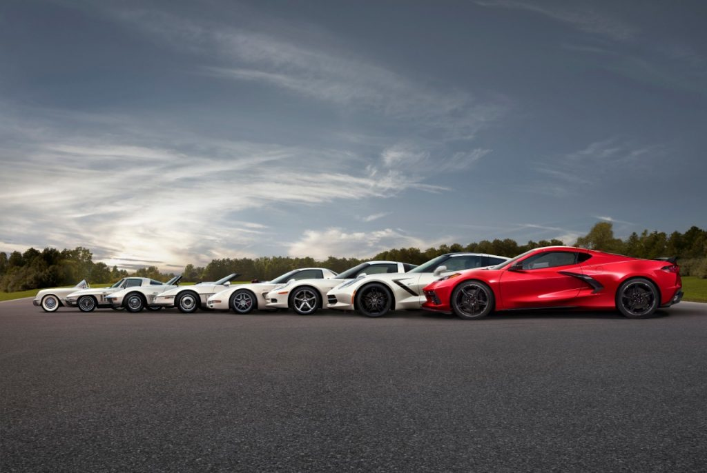 8 generations of the Corvette