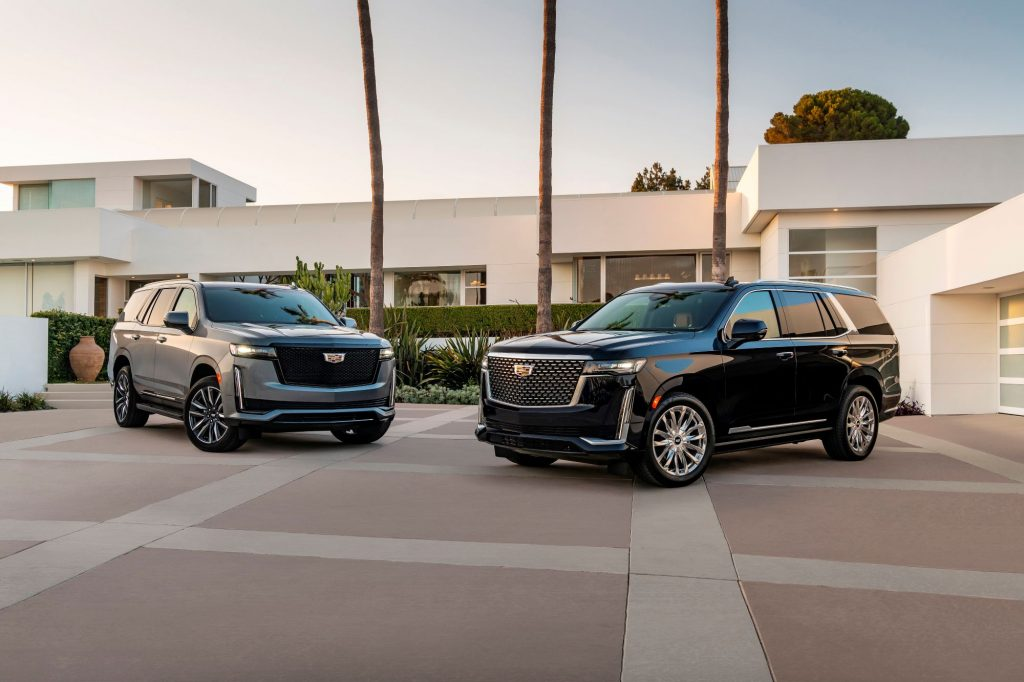 The 2021 Cadillac Escalade Premium Luxury and Sport models in gray and black paint color options