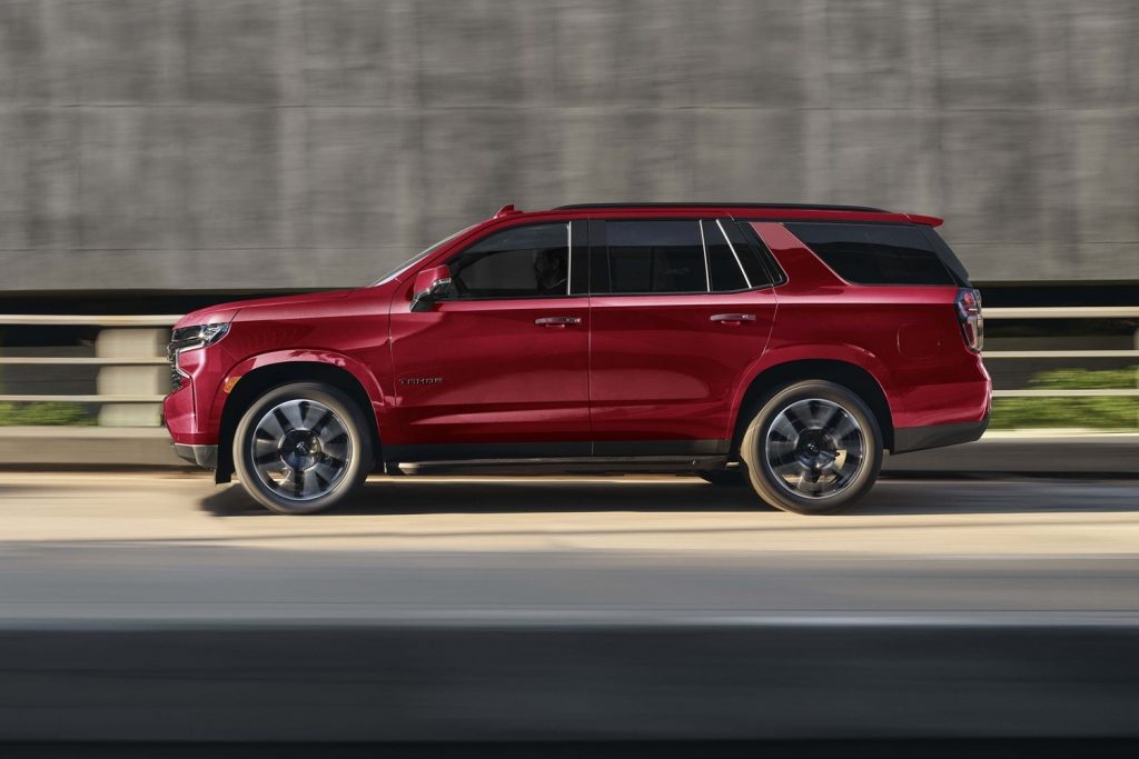 The 2021 Chevrolet Tahoe driving down the road