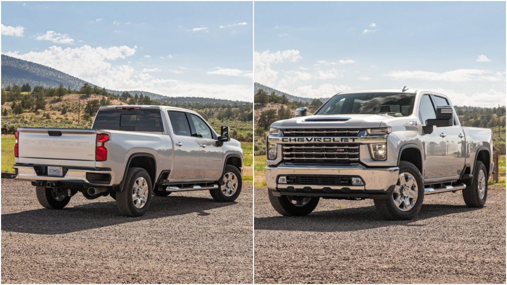 A split screen of the 2021 Chevy Silverado 2500HD and the 2022 Chevy Silverado 2500HD