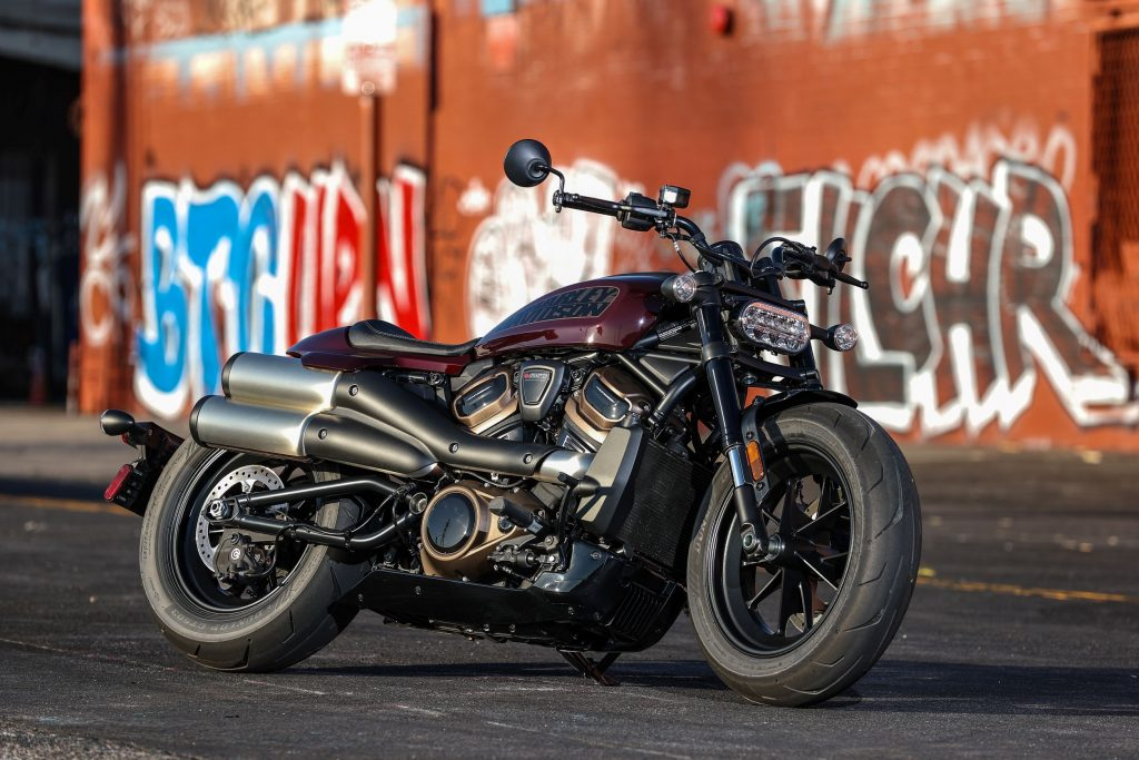 A maroon 2021 Harley-Davidson Sportster S on a city street