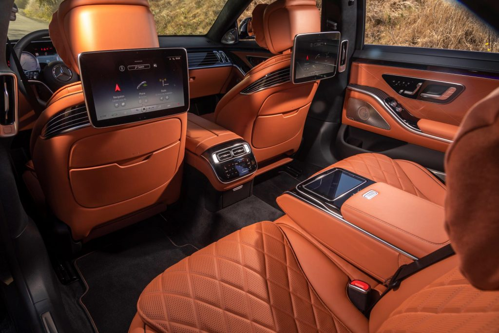 The rear view of the tan Nappa leather interior of a 2021 Mercedes-Benz S 580 S-Class