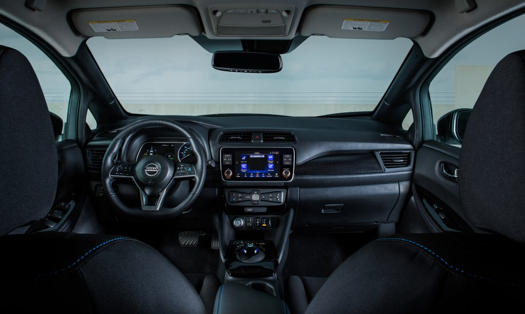 The all-black interior of the 2021 Nissan Leaf