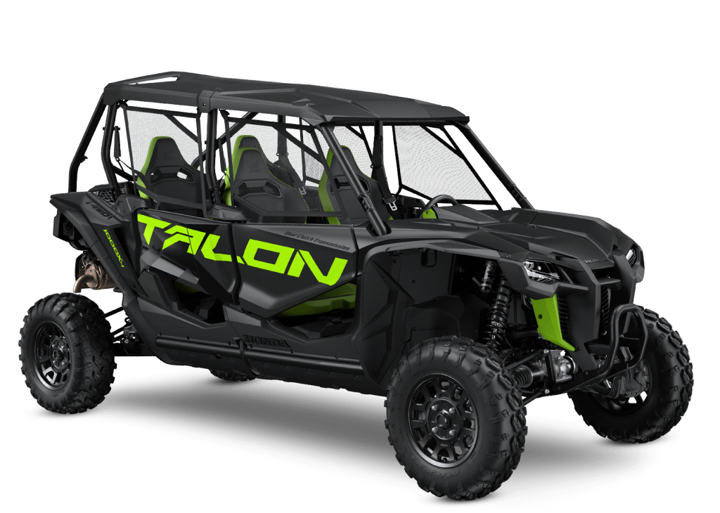 Honda Talon UTV in Black with lime green badging in a press photo against a white backdrop