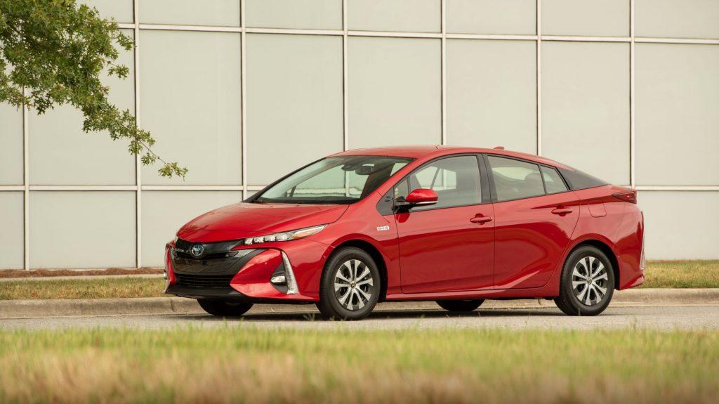 The 2021 Toyota Prius Prime hybrid model in red