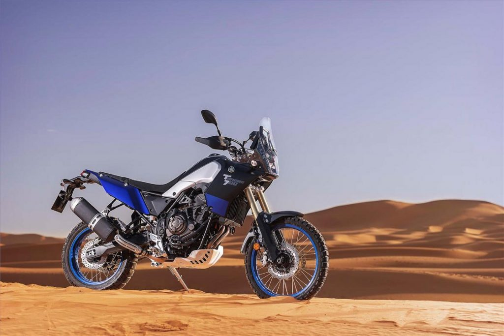 A blue-and-black 2021 Yamaha Ténéré 700 in the desert