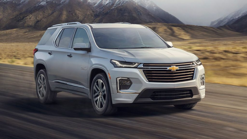 A 2021 Chevy Traverse driving down the road