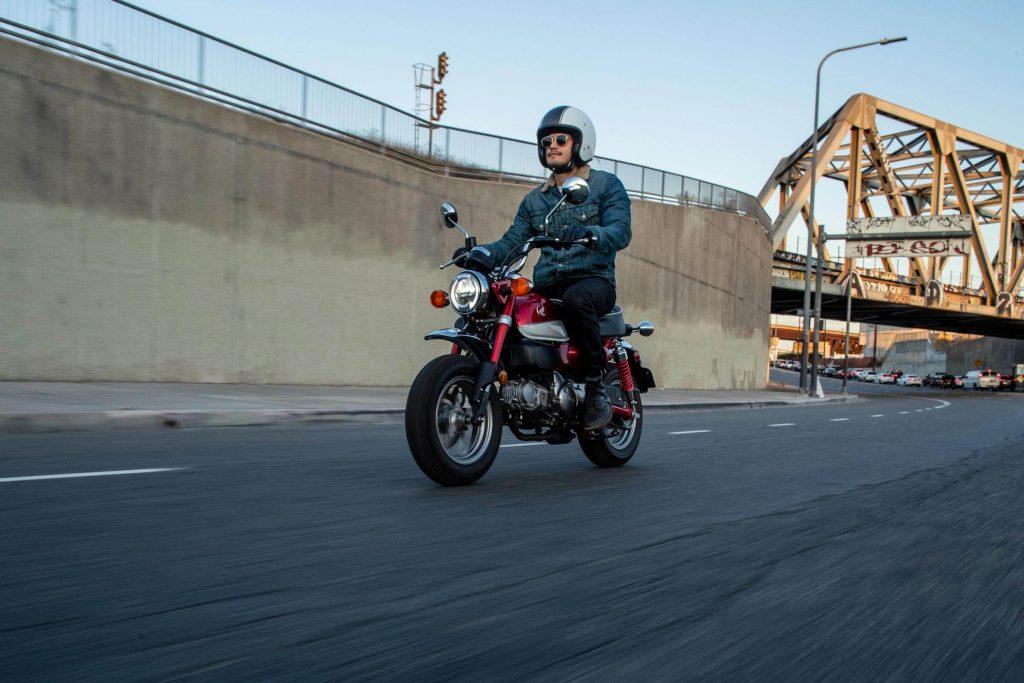 2021 Honda Monkey being ridden on the street