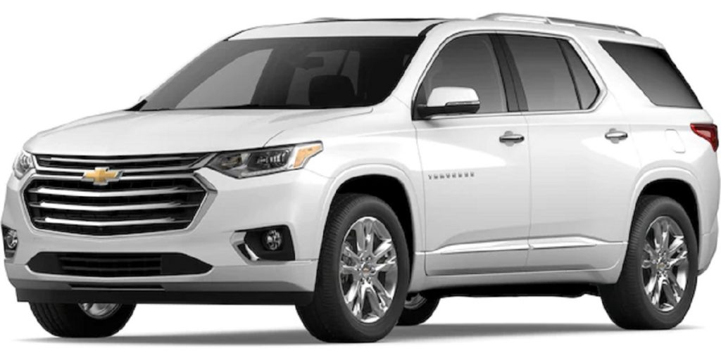 A white 2021 Chevy Traverse against a white background.
