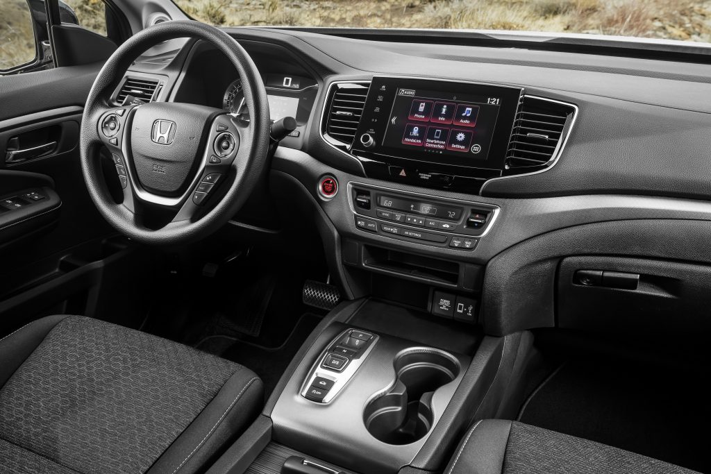 The interior of the 2021 Honda Ridgeline in all black
