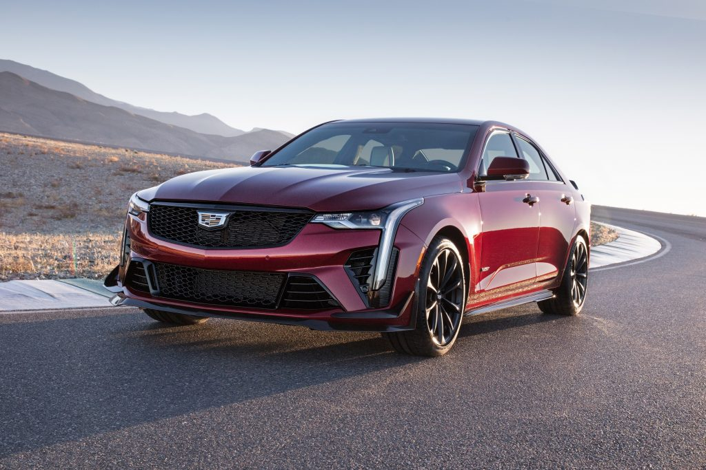A red 2022 Cadillac CT4-V Blackwing