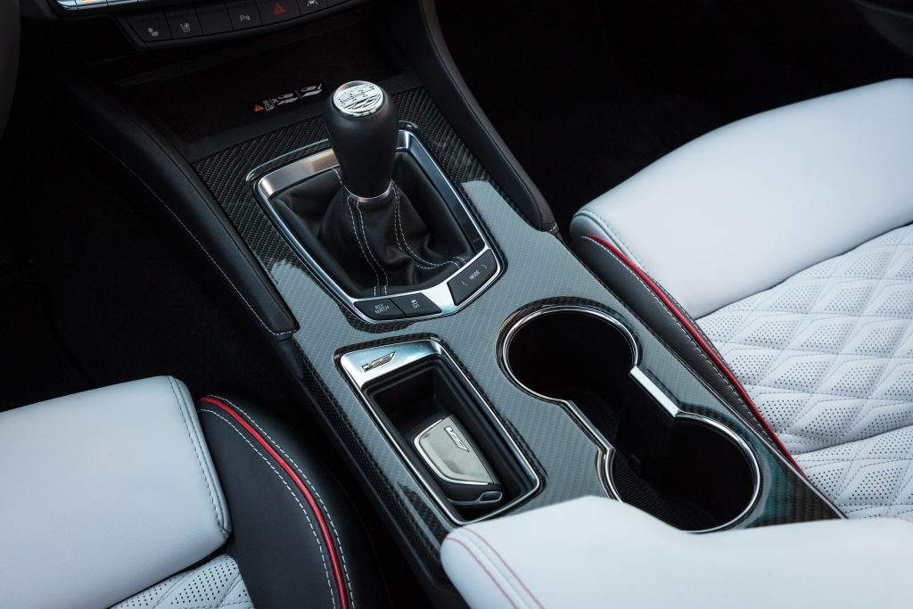 The new CT4 Blackwing will come with a coveted manual transmission, seen here trimmed in carbon fiber and leather.