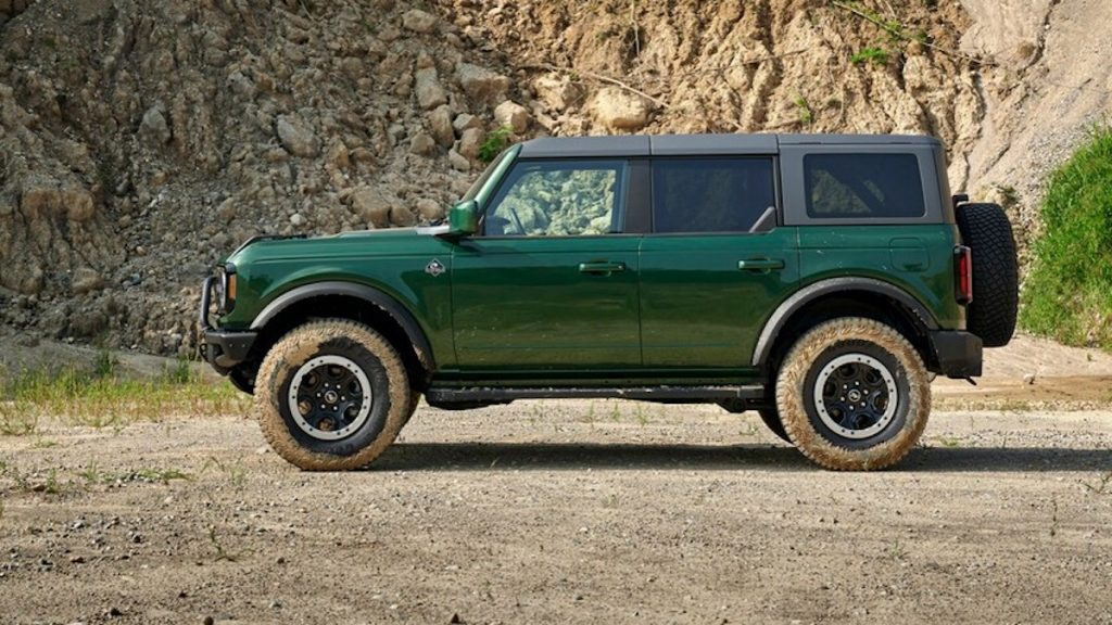 Ford added new colors to the 2022 Ford Bronco. The color shown here is called Eruption Green Metallic