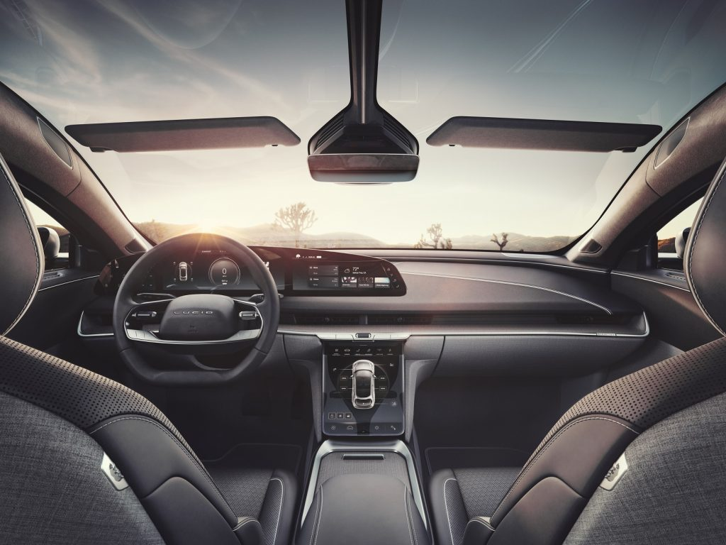 The front seats, dashboard, and glass roof of a 2022 Lucid Air