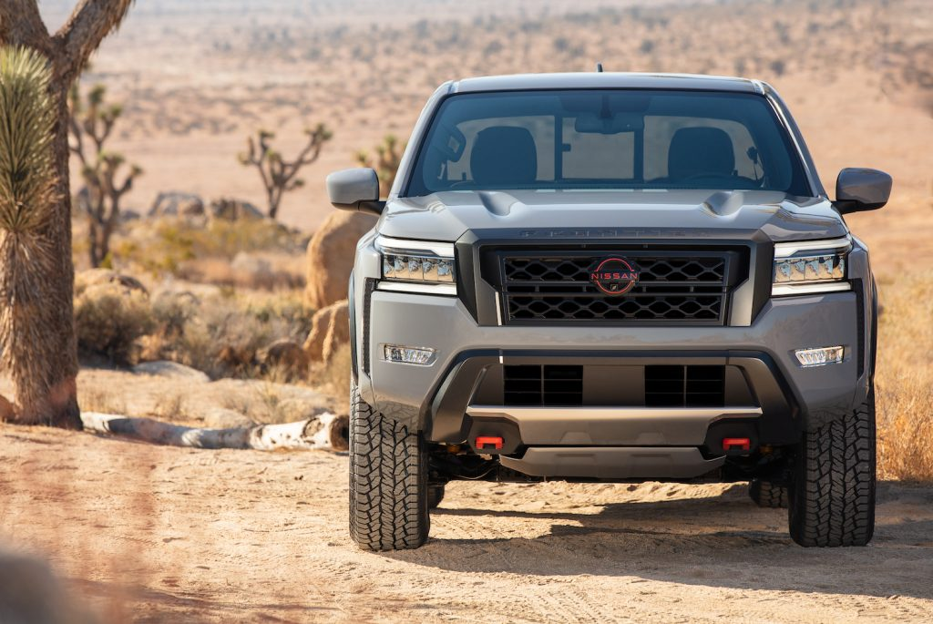 The hood of the 2022 Nissan Frontier