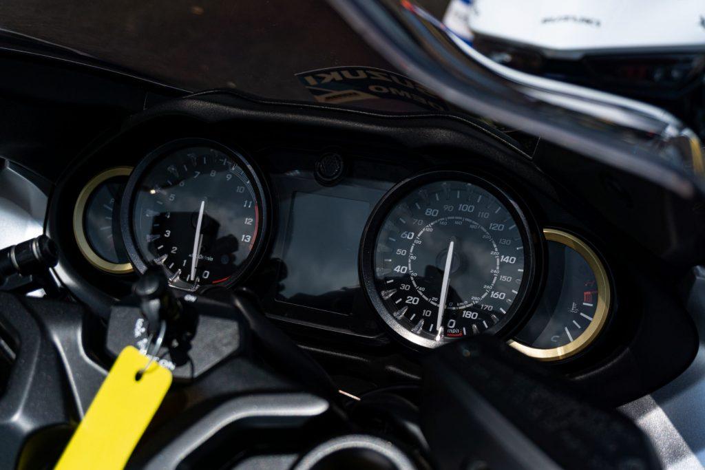 A close-up look at the 2022 Suzuki Hayabusa's dials and turned-off TFT display