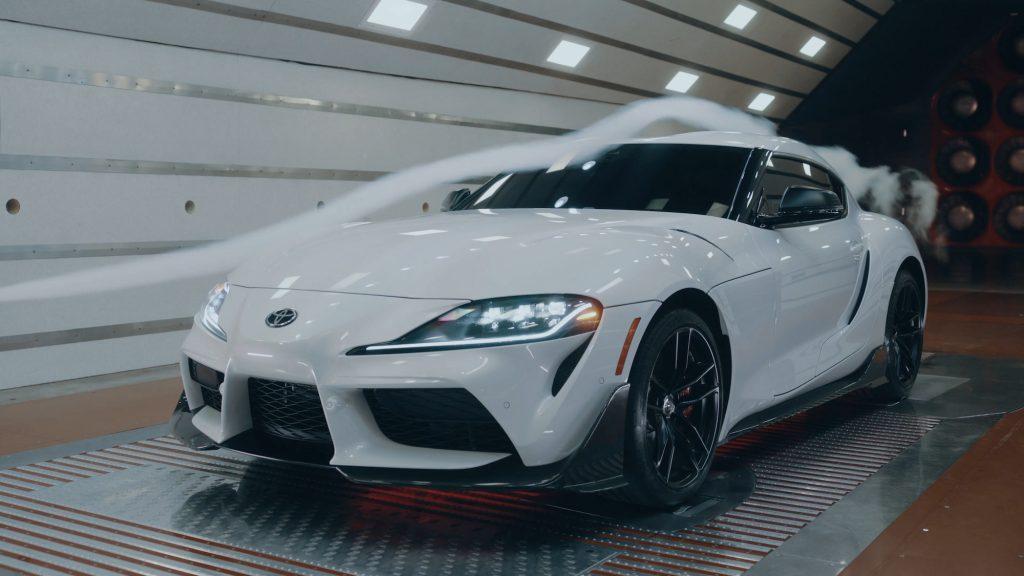 A white 2022 Toyota Supra A91-CF (carbon fiber) sits in a wind tunnel