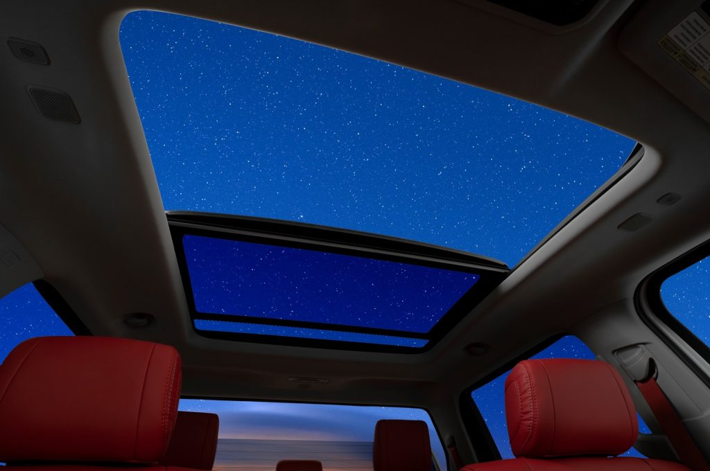 inside view of the 2022 Toyota Tundra sunroof at night
