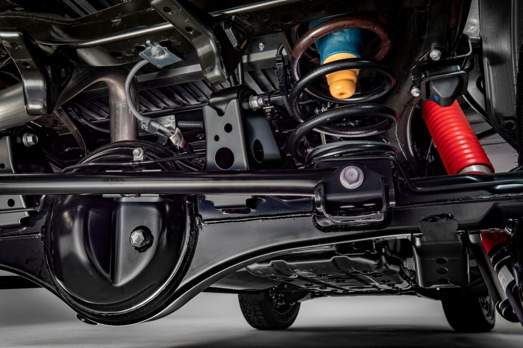 a veiw of the 2022 Toyota Tundra's suspension