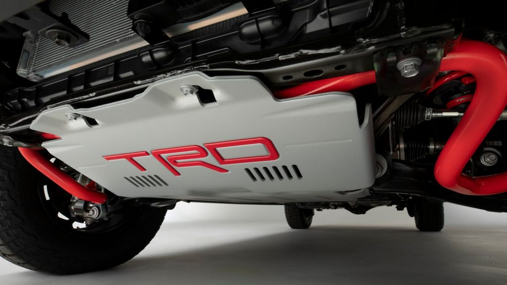 A promo picture of the 2022 Toyota Tundra TRD Pro Skidplates | Will this Toyota be a cost-effective Raptor?