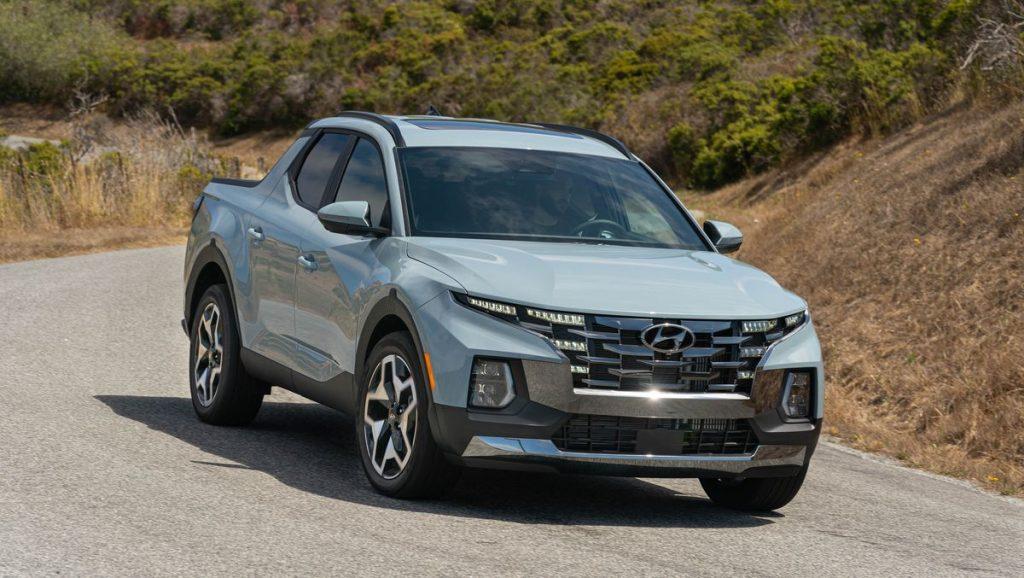 The 2022 Hyundai Santa Cruz on a dirt road