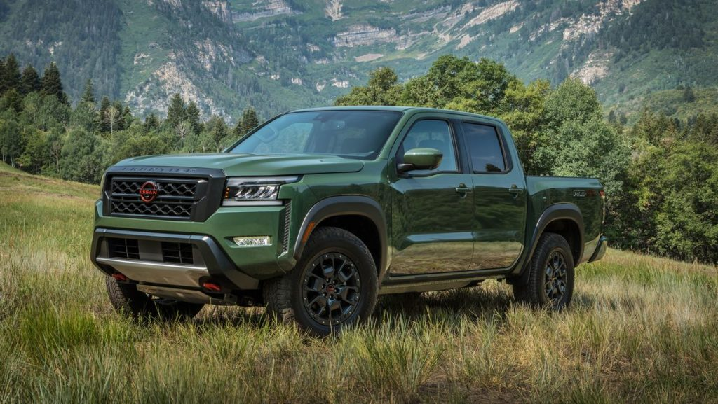 The 2022 Nissan Frontier parked in a field