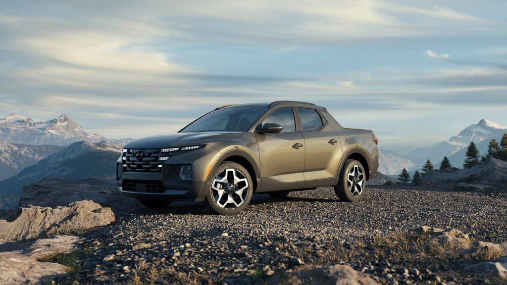 A 2022 Hyundai Santa Cruz parked in gravel