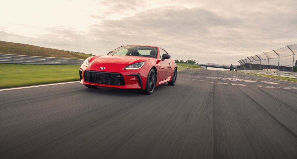 A red GR 86 on track during Toyota's launch event