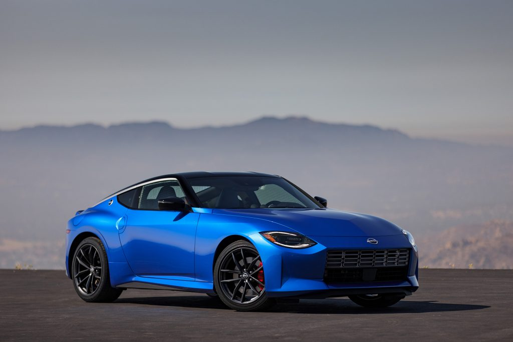 2023 Nissan Z coupe in two-toned blue and black colors.