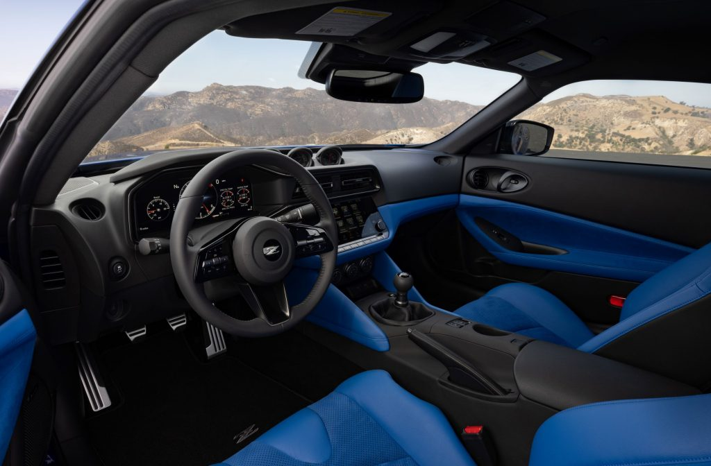 The blue seats and blue-and-black dashboard of a 2023 Nissan Z