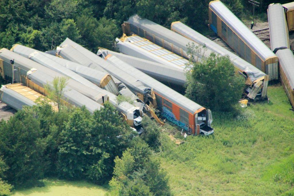 Ford F-150 models in a train crash