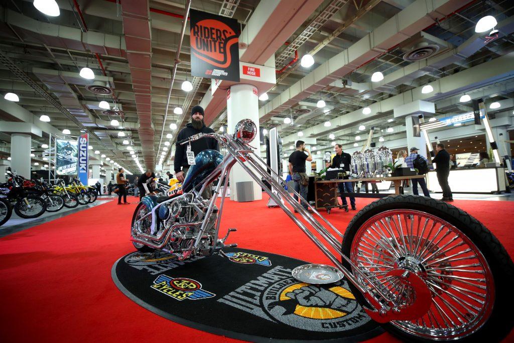 A custom chopper displayed at the 2019 New York Progressive International Motorcycle Show